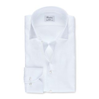 White Slimline Shirt With One Piece Collar