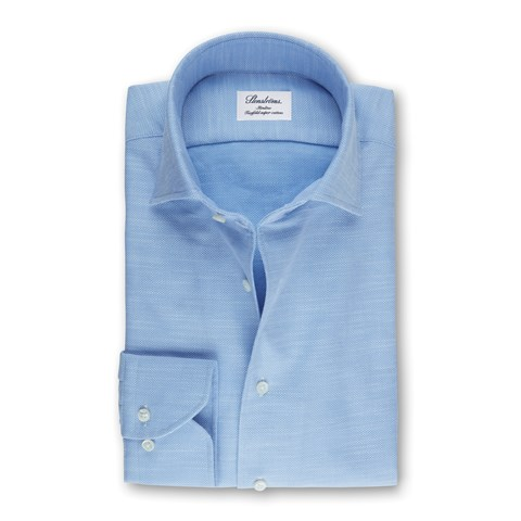 Light Blue Slimline Shirt With One Piece Collar