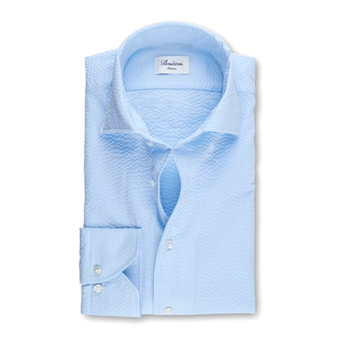 Light Blue Seersucker Slimline Shirt