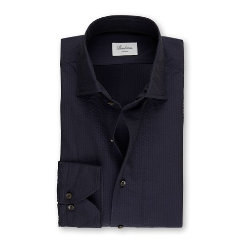 Navy Seersucker Slimline Shirt