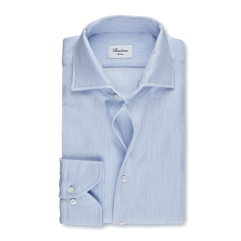 Light Blue Jacquard Slimline Shirt