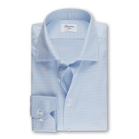 Light Blue Checked Slimline Shirt