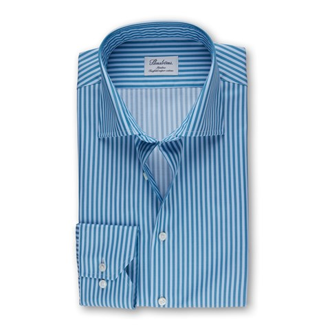 Aqua And Blue Striped Slimline Shirt