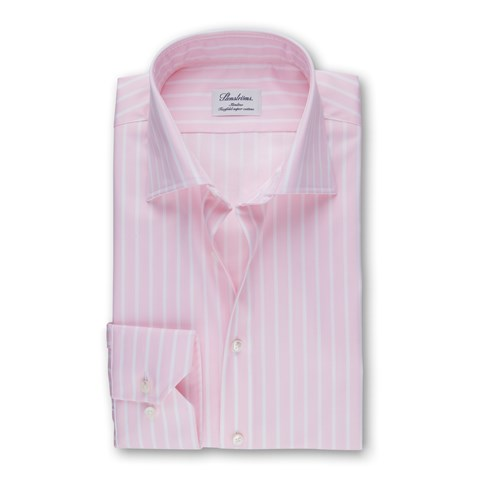 Pink And White Striped Slimline Shirt