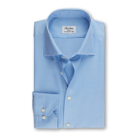 Light Blue Houndstooth Slimline Shirt