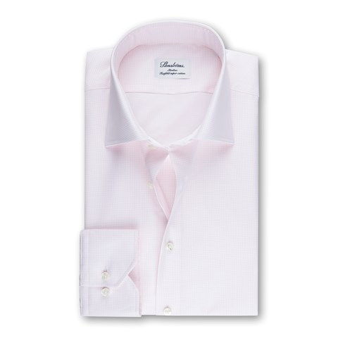 Light Pink Micro Checked Slimline Shirt