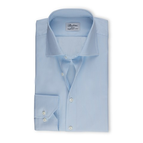 Light Blue Pinstriped Slimline Shirt, Extra Long Sleeves