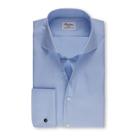 Blue Slimline Shirt With French Cuffs