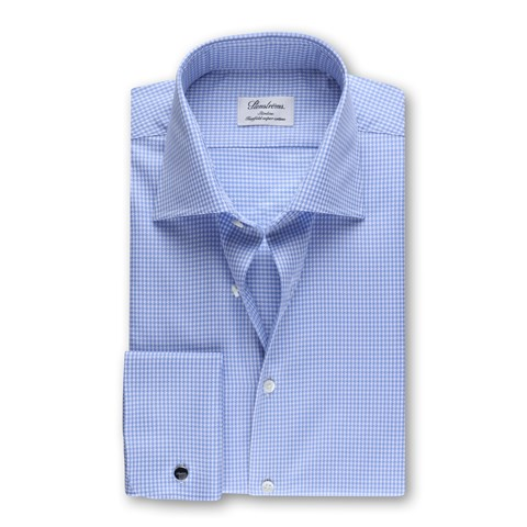 Houndstooth Slimline Shirt With French Cuffs