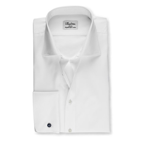 White Slimline Shirt With French Cuffs, Extra Long Sleeves