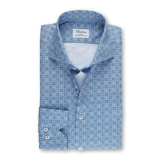 Blue Patterned Slimline Shirt