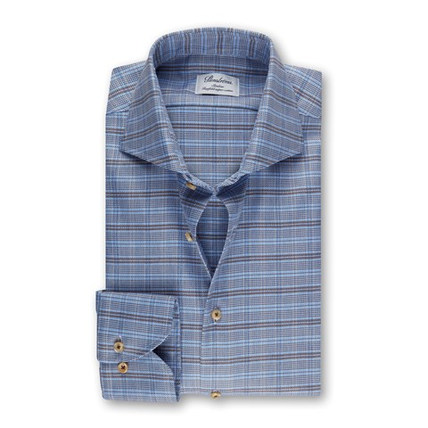 Blue Checked Slimline Shirt
