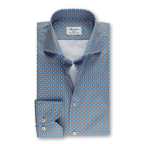 Medallion Slimline Shirt, Blue/Brown