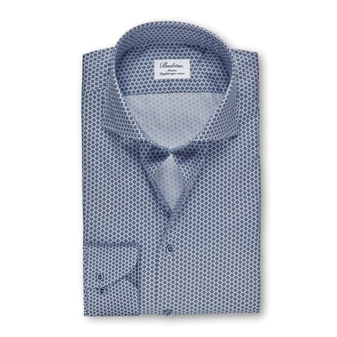 Blue Geometric Patterned Slimline Shirt, Extra Long Sleeves
