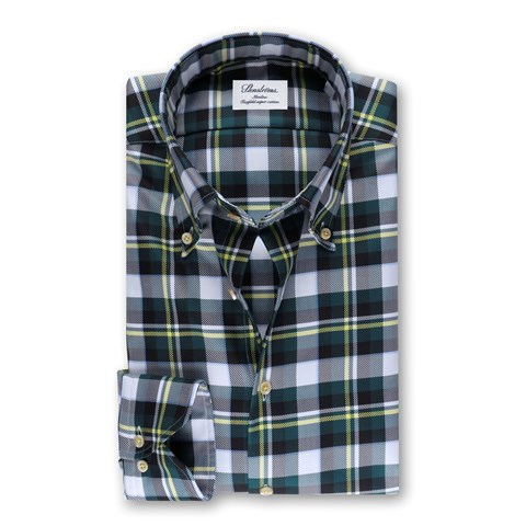 Checked Slimline Body Shirt Green
