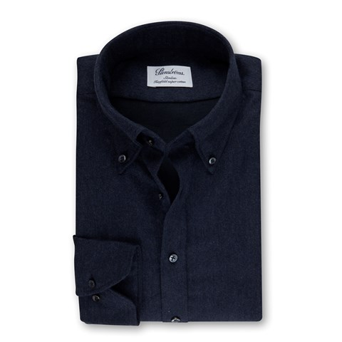 Navy Slimline Shirt In Luxury Flannel