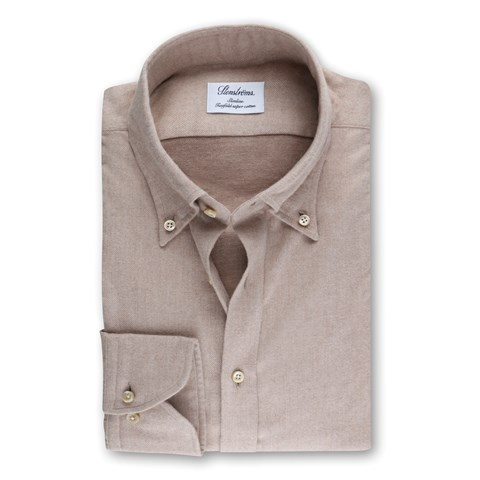 Beige Slimline Shirt In Luxury Flannel