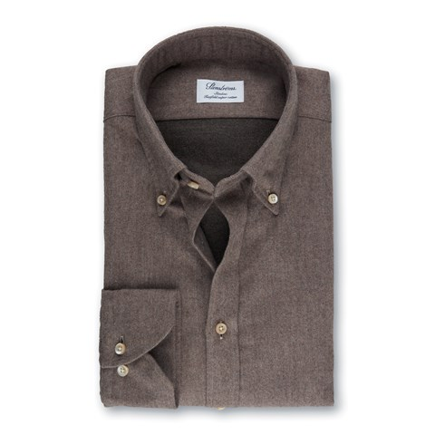 Brown Slimline Shirt In Luxury Flannel