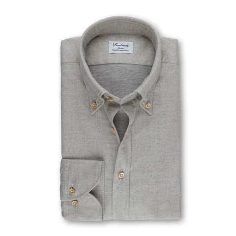 Light Grey Slimline Shirt In Luxury Flannel