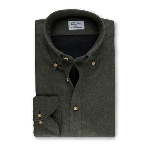 Forest Green Slimline Shirt In Luxury Flannel