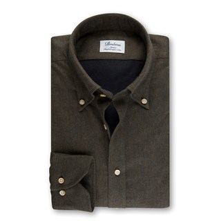 Green Slimline Shirt In Luxury Flannel