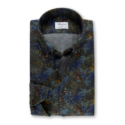 Flower Patterned Flannel Slimline Shirt