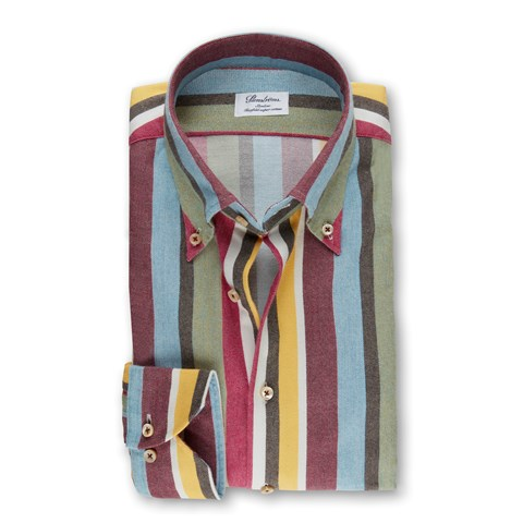 Multicolor Striped Flannel Slimline Shirt