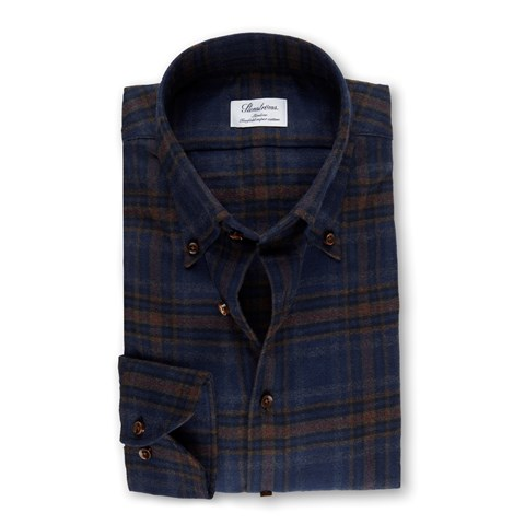 Navy/Brown Check Flannel Slimline Shirt