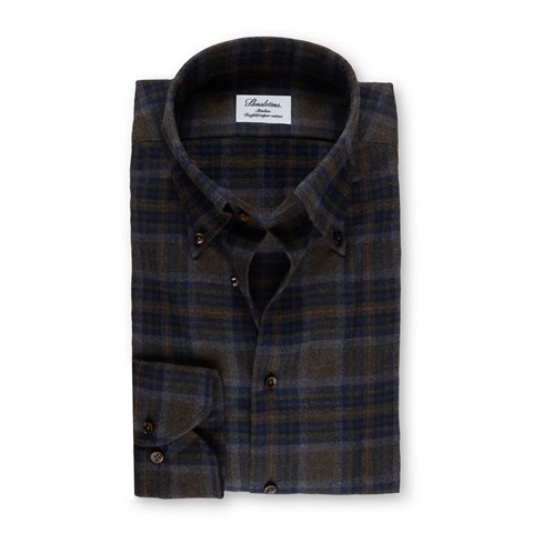 Green/Navy Check Flannel Slimline Shirt