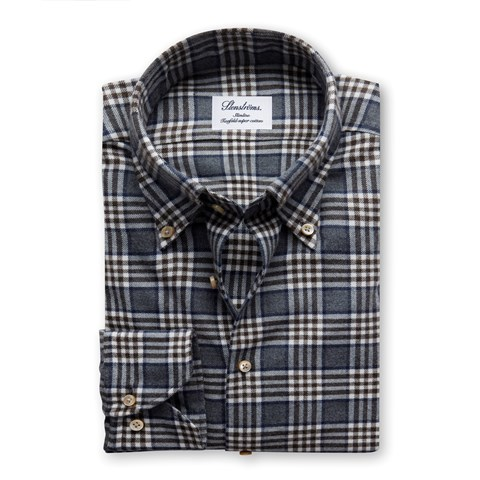 Grey Checked Flannel Slimline Shirt