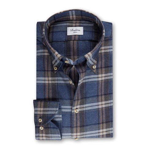 Blue Checked Flannel Slimline Shirt