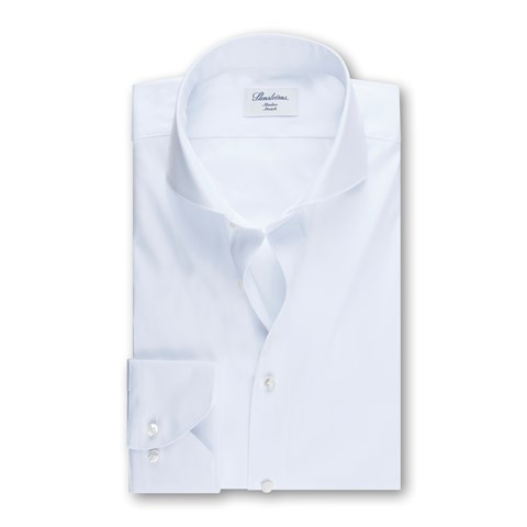 White Slimline Poplin Shirt, Stretch