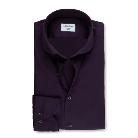 Purple Slimline Poplin Shirt, Stretch