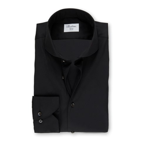 Black Slimline Poplin Shirt, Stretch