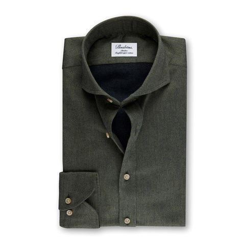 Green Flannel Slimline Shirt