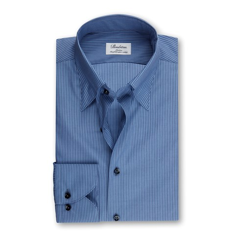 Blue Striped Slimline Shirt With Button Under Collar