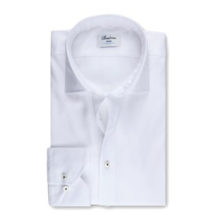 White Textured Slimline Shirt, Stretch