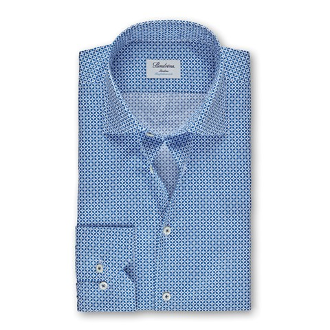Blue Geometric Patterned Slimline Shirt