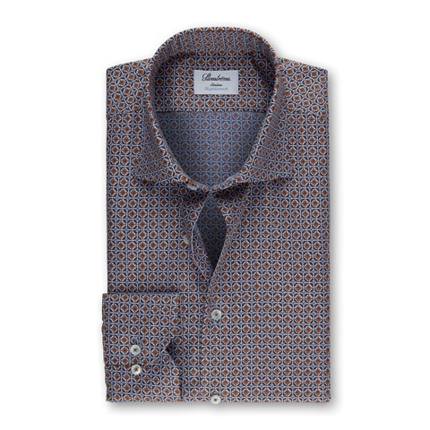 Brown Tiles Pattern Slimline Shirt