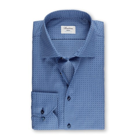 Navy Micro Patterned Slimline Shirt