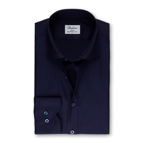 Navy Textured Slimline Shirt