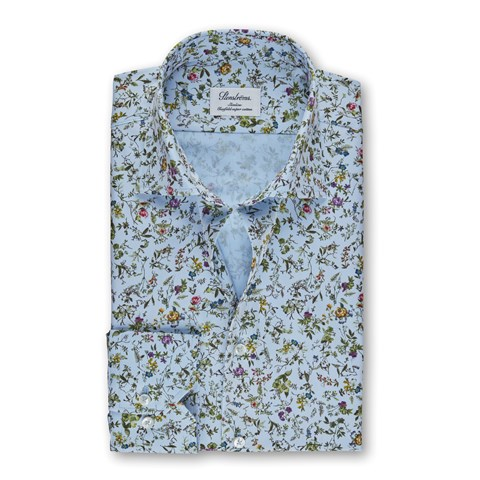 Light Blue Floral Slimline Shirt