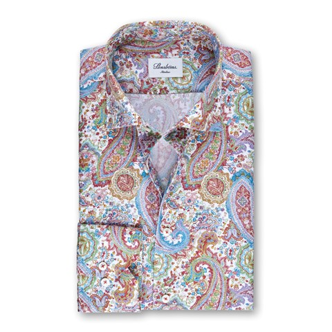 Paisley Patterned Slimline Shirt, Extra Long Sleeves
