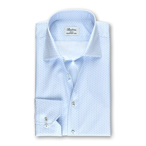Light Blue Geometric Patterned Slimline Shirt