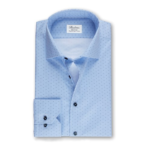 Blue Micro Patterned Slimline Shirt, Extra Long Sleeves
