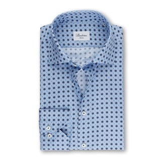 Blue Slimline Shirt With Pattern