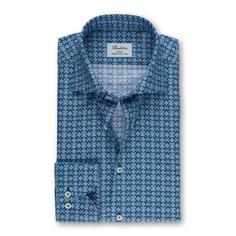 Blue Kaleidoscope Pattern Slimline Shirt