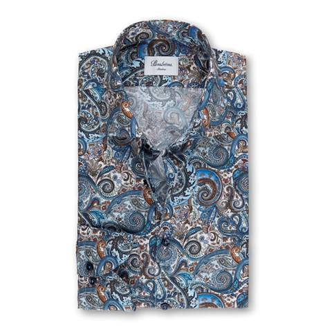 Blue/Brown Paisley Patterned Slimline Shirt