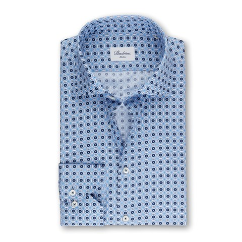 Blue Slimline Shirt With Pattern, Extra Long Sleeves