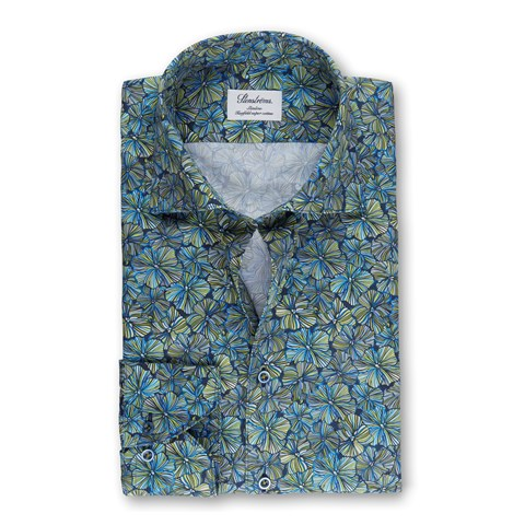 Tropical Flower Slimline Shirt, Extra Long Sleeves